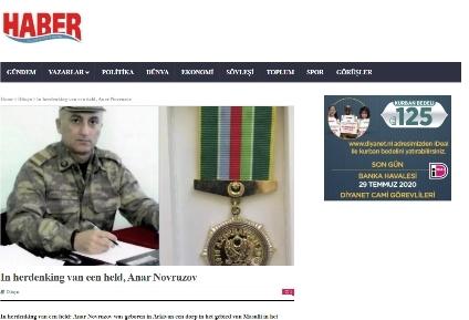 Niderland mediasında şəhid mayor Anar Novruzovdan yazılıb