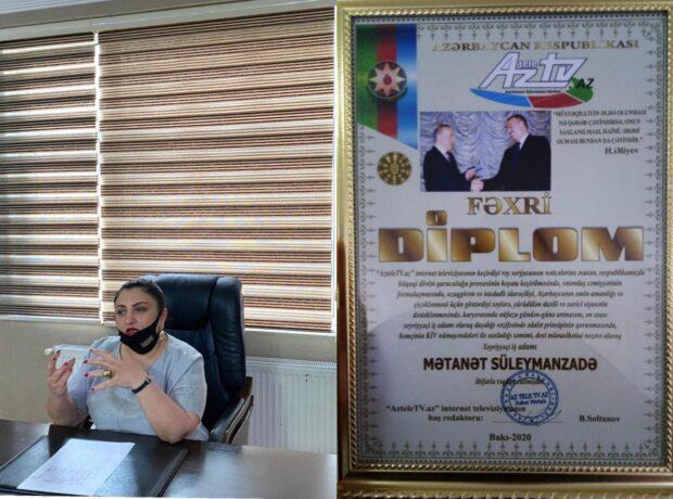 İş adamı Mətanət Süleymanzadə təltif edildi – FOTO